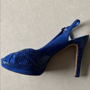 Suede & Snakeskin! Peep toe platform heels  7.5